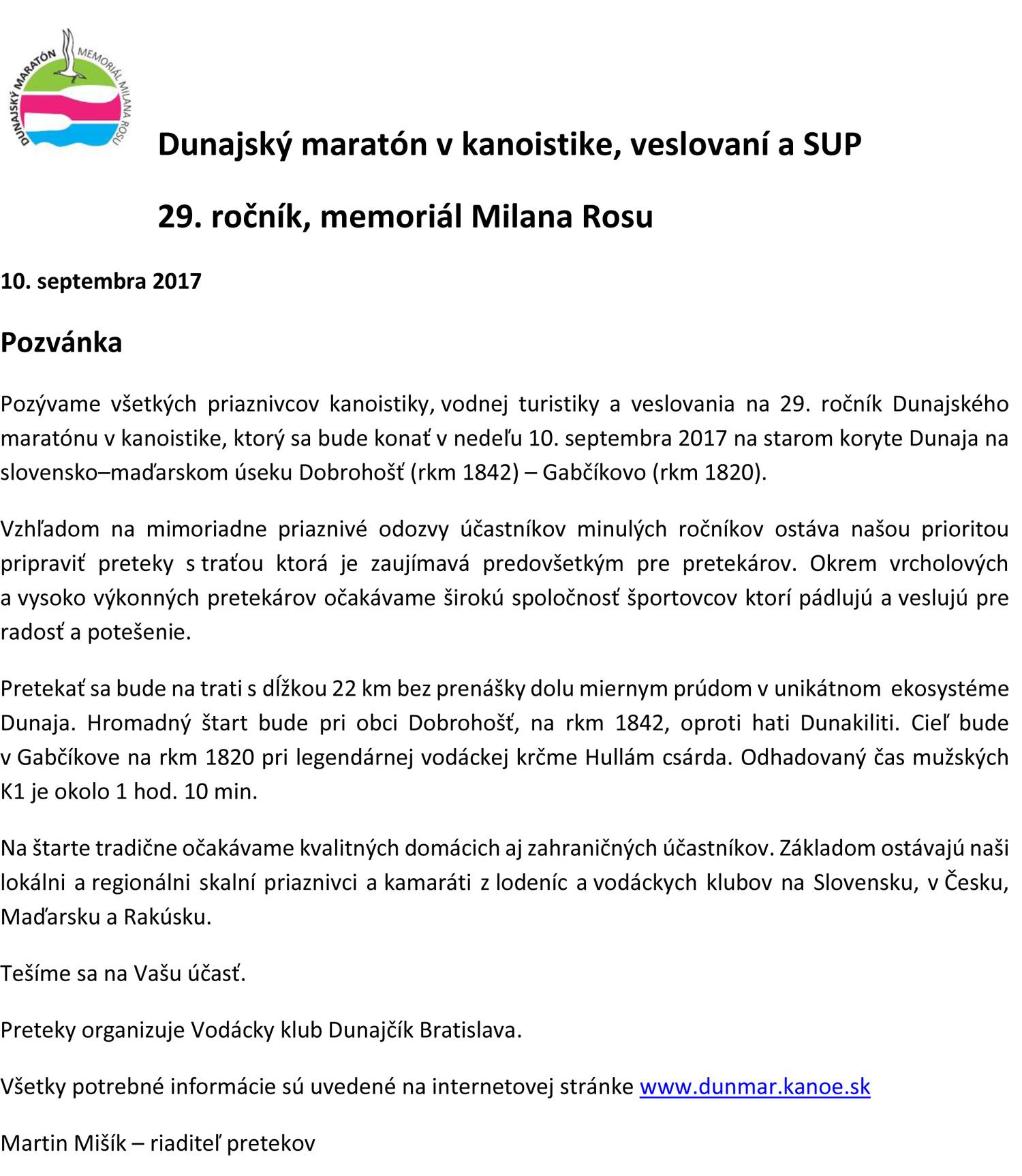 Pozvánka na Dunajský maratón 2017