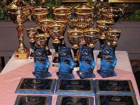 Pripravené trofeje pre najlepších, v pozadí aj poháre pre víťazov Orange Slovenský pohár, ktorý sa vyhodnocoval spoločne.